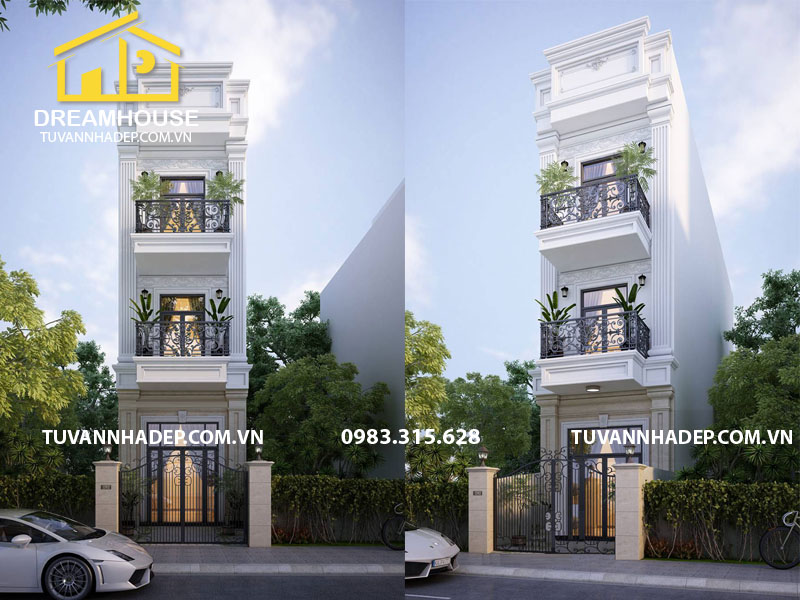 Thiết kế nhà phố 3 tầng 75m2 phong cách tân cổ điển ở Hải Phòng