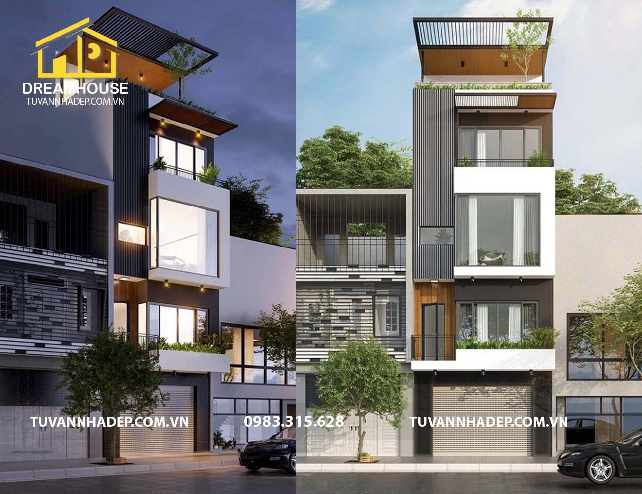 Mẫu nhà phố 4 tầng 50m2 ở Hà Đông độc đáo và mới lạ kết hợp với kinh doanh