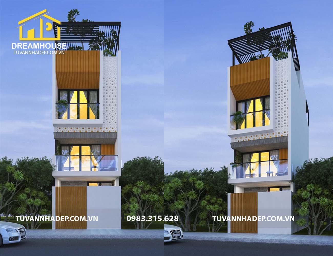 Mẫu thiết kế nhà phố hiện đại 4 tầng 54m2