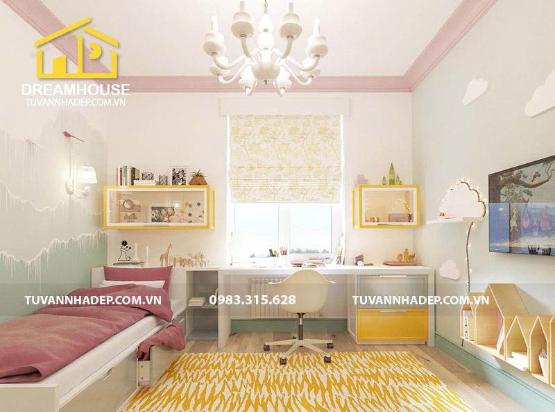 bố trí không gian nội thất đẹp cho con gái