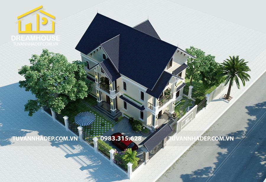 hình ảnh tổng thể biệt thự 2 tầng mái thái mặt tiền 7m