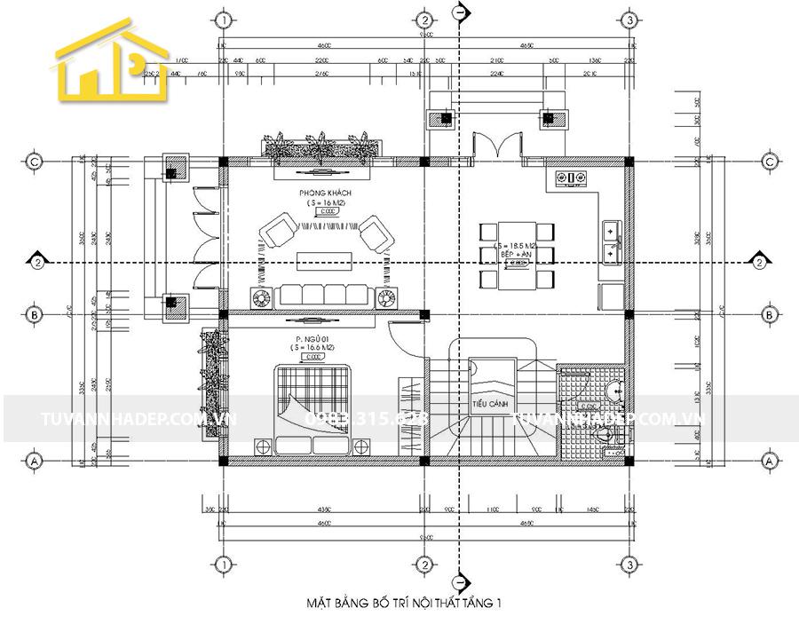 bản vẽ chi tiết mặt bằng tầng 1 biệt thự 2 tầng mái thái mặt tiền 7m