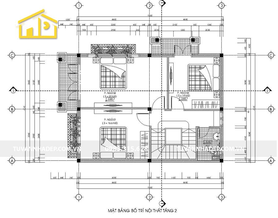 bố trí mặt bằng công năng tầng 2 biệt thự 2 tầng mái thái mặt tiền 7m