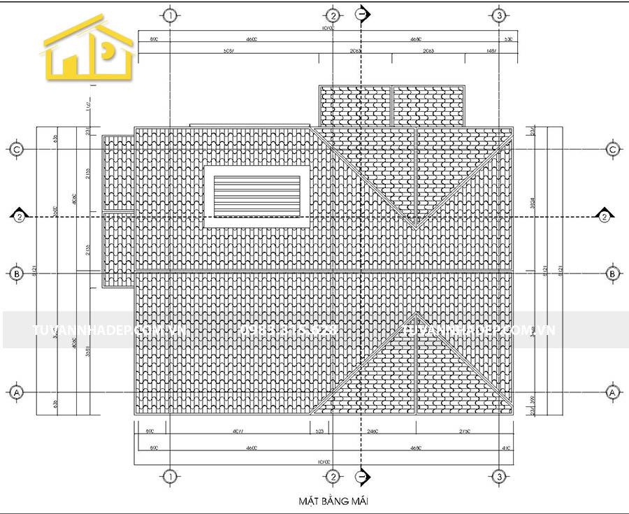 mặt bằng mái biệt thự 2 tầng mái thái mặt tiền 7m