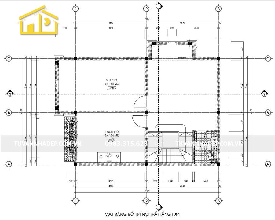 bố trí công năng tầng tum biệt thự 2 tầng mái thái mặt tiền 7m
