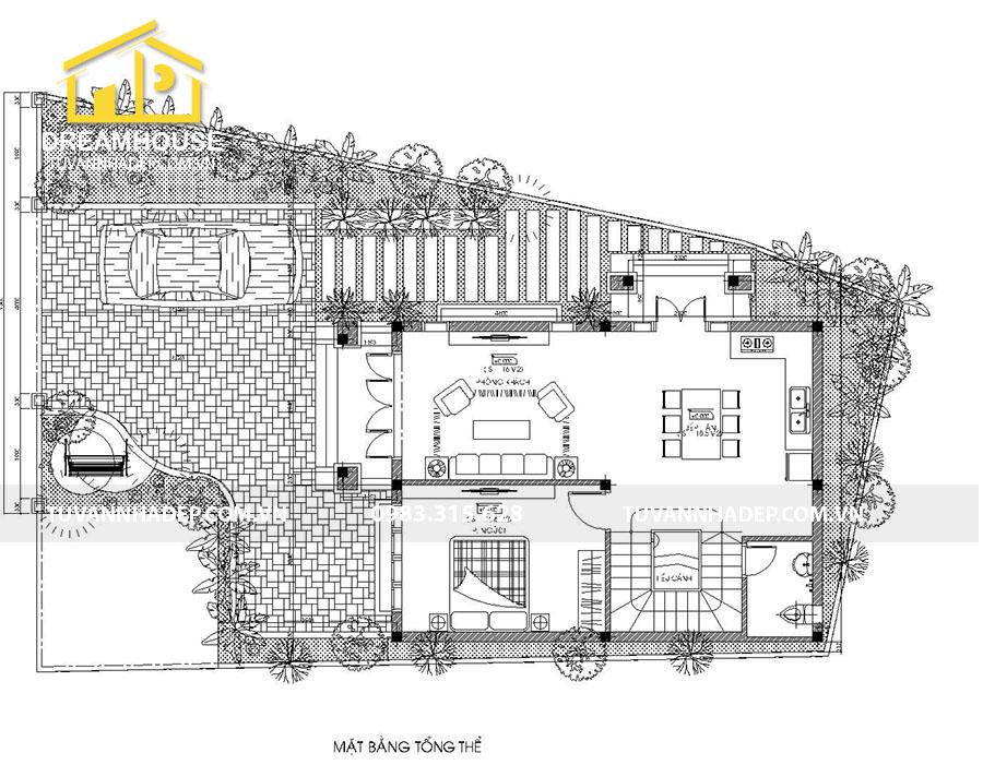 mặt bằng tổng thể biệt thự 2 tầng mái thái mặt tiền 7m