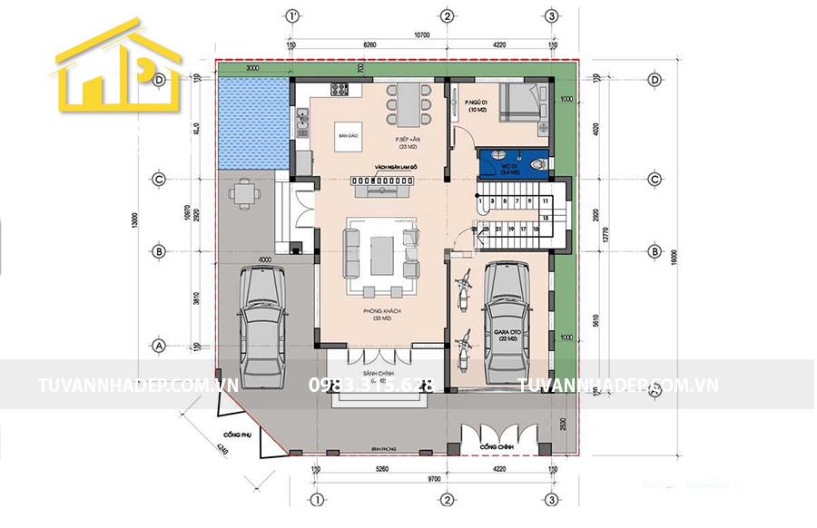 sắp xếp mặt bằng tầng 1 biệt thự 3 tầng kiểu pháp mặt tiền 10m