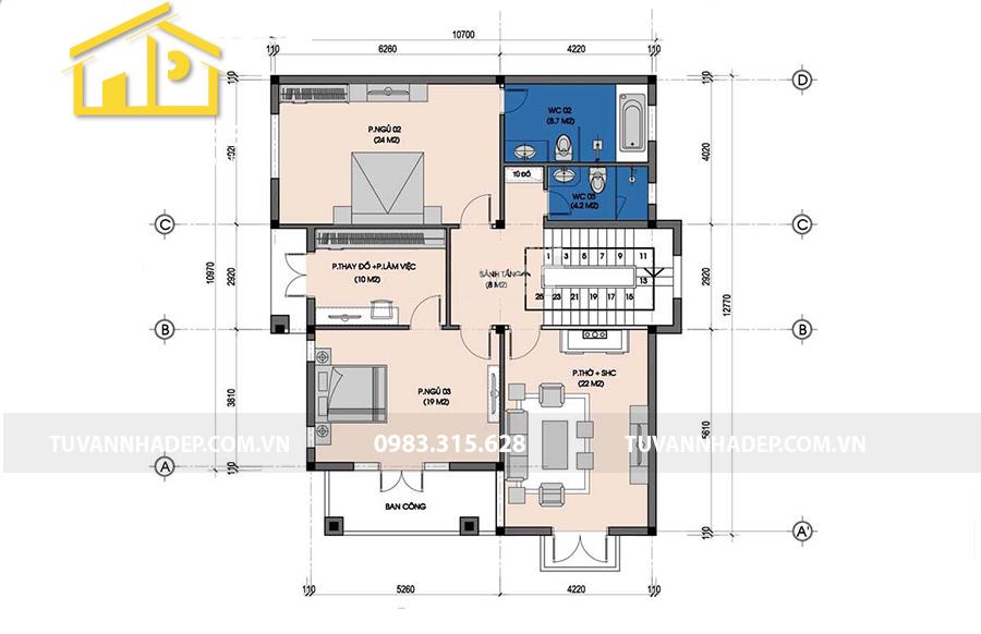hình ảnh mặt bằng tầng 2 biệt thự 3 tầng kiểu pháp mặt tiền 10m