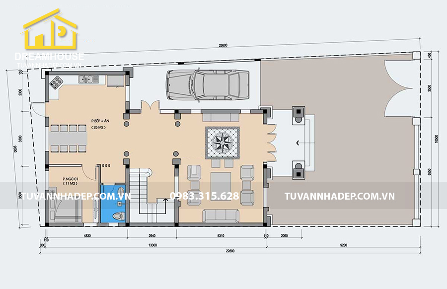 bản vẽ mặt bằng tầng 1 biệt thự 3 tầng tân cổ điển 130m2