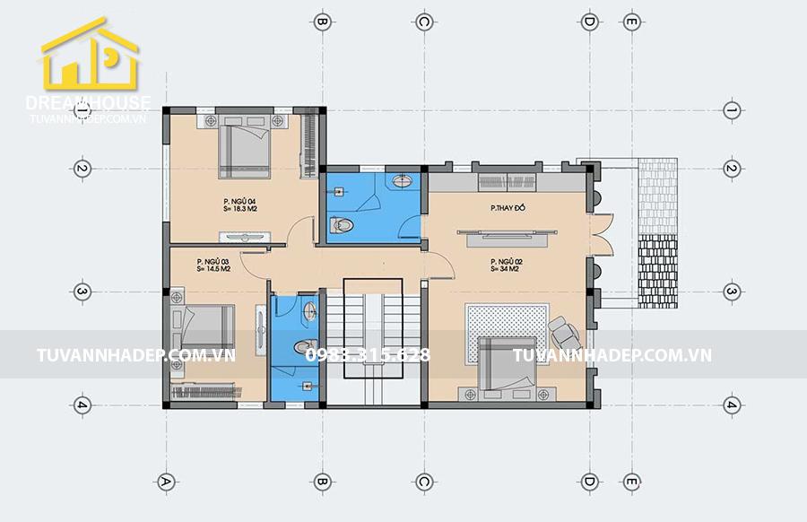mặt bằng sàn tầng 2 biệt thự 3 tầng tân cổ điển 130m2
