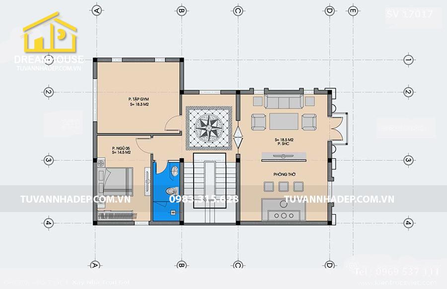 bố trí công năng tầng 3 biệt thự 3 tầng tân cổ điển 130m2