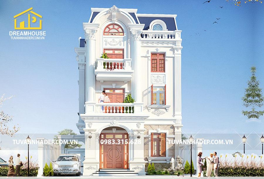 thiết kế biệt thự 3 tầng tân cổ điển 90m2
