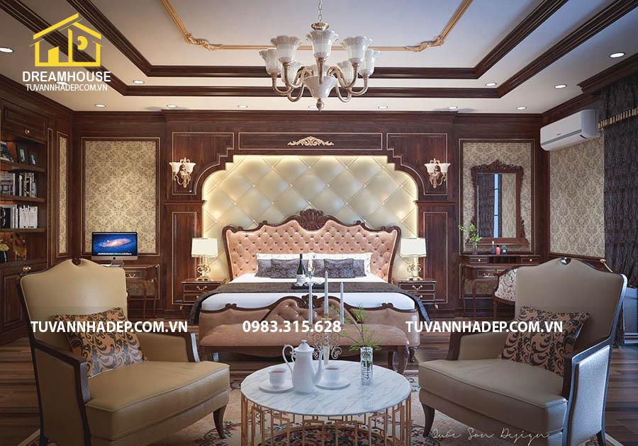 hình ảnh góc nhìn chính diện phòng ngủ tân cổ điển