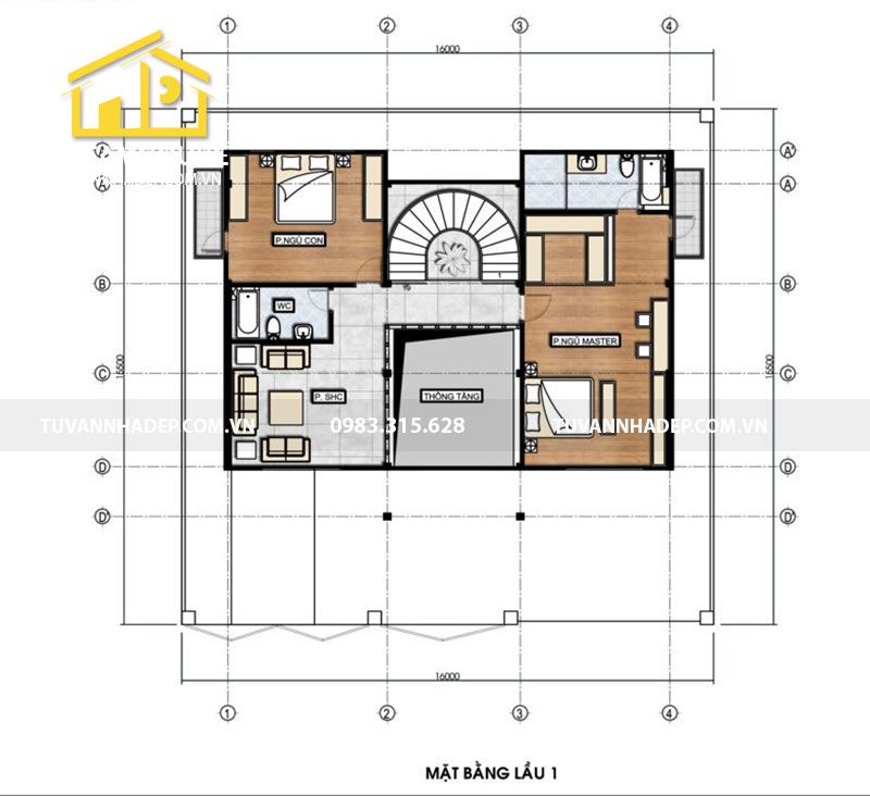hình ảnh mặt bằng tầng 2 biệt thự 3 tầng tân cổ điển mặt tiền 16m