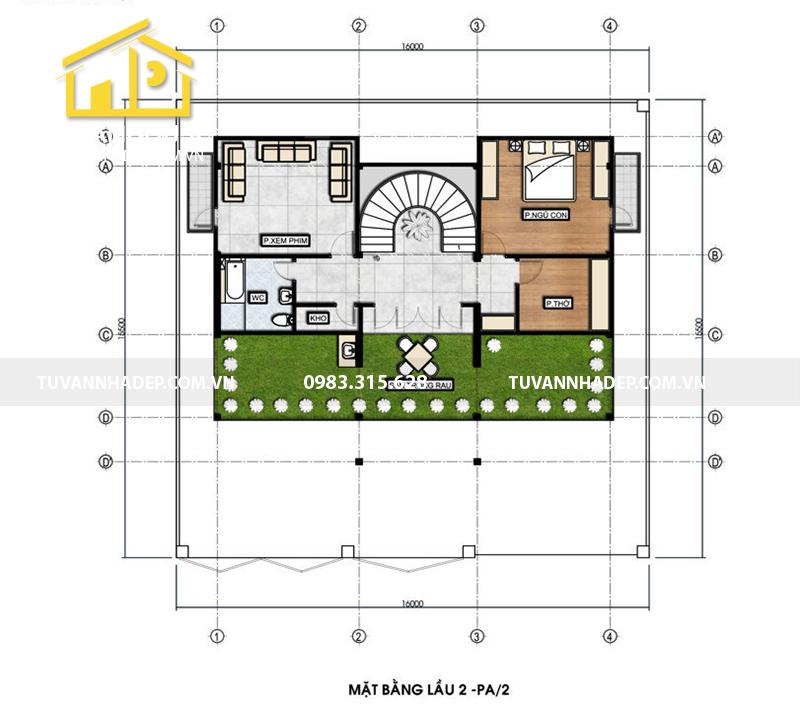 bố trí công năng tầng 1 biệt thự 3 tầng tân cổ điển mặt tiền 16m