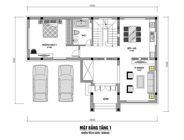 bố trí mặt bằng tầng 1 nhà 2 tầng 3 phòng ngủ 120m2