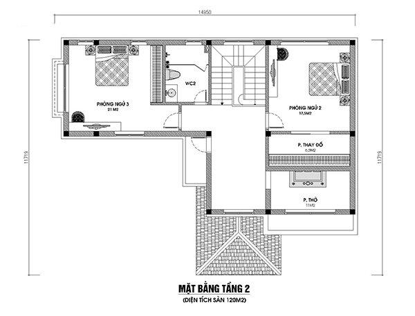 bản vẽ mặt bằng tầng 2 nhà 2 tầng 3 phòng ngủ 120m2