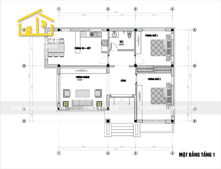 bản vẽ chi tiết nhà cấp 4 2 phòng ngủ 110m2