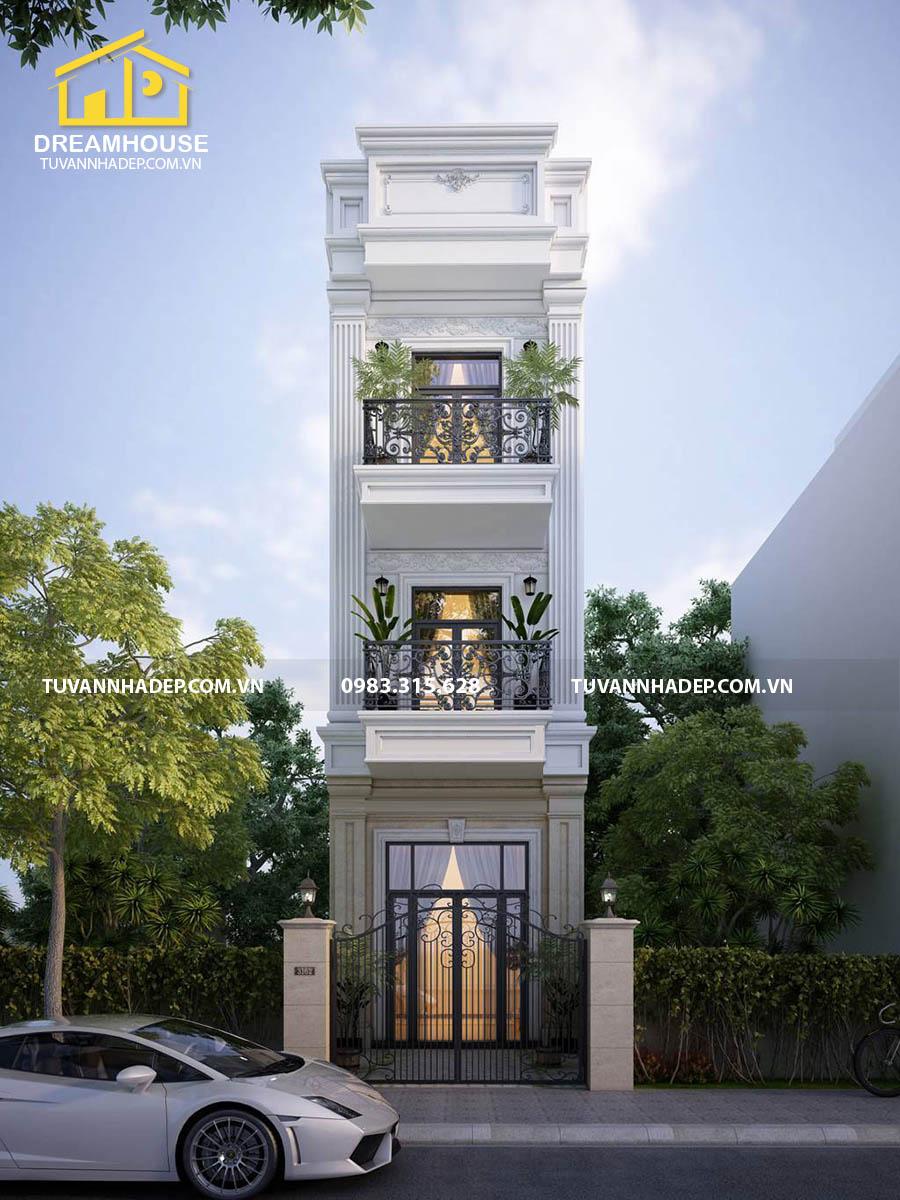 phối cảnh mặt tiền nhà phố 3 tầng 75m2