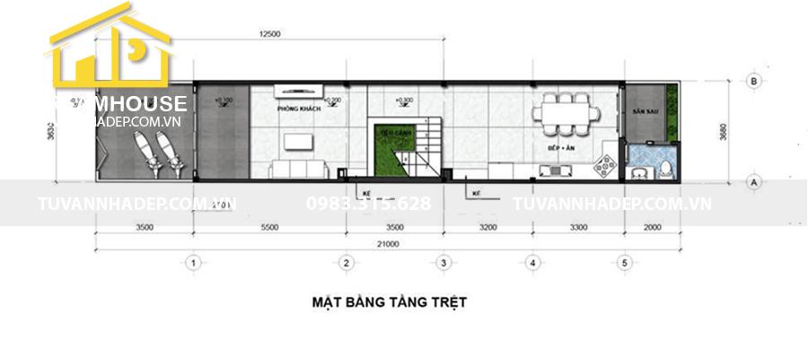 bố trí công năng tầng trệt nhà phố 3 tầng 75m2