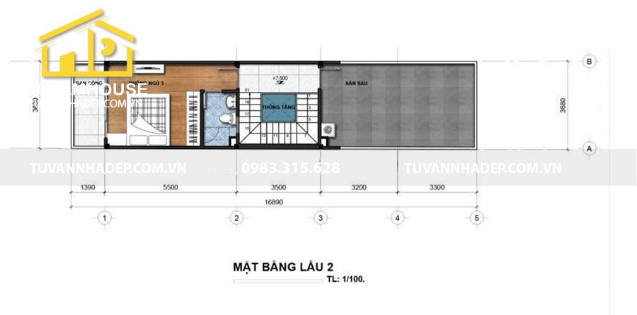 bố trí công năng lầu 2 nhà phố 3 tầng 75m2