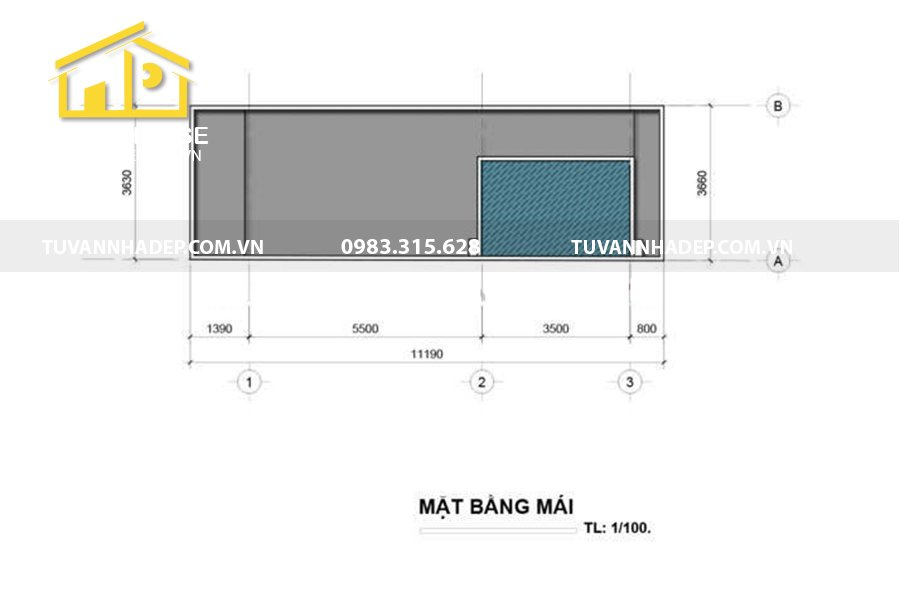 bố trí công năng tầng mái nhà phố 3 tầng 75m2