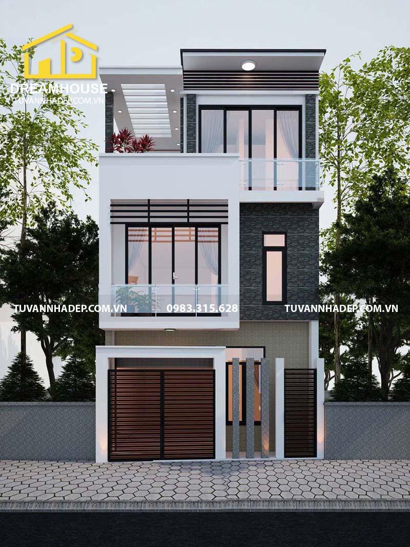 bản vẽ mặt tiền nhà phố 3 tầng mặt tiền 6m