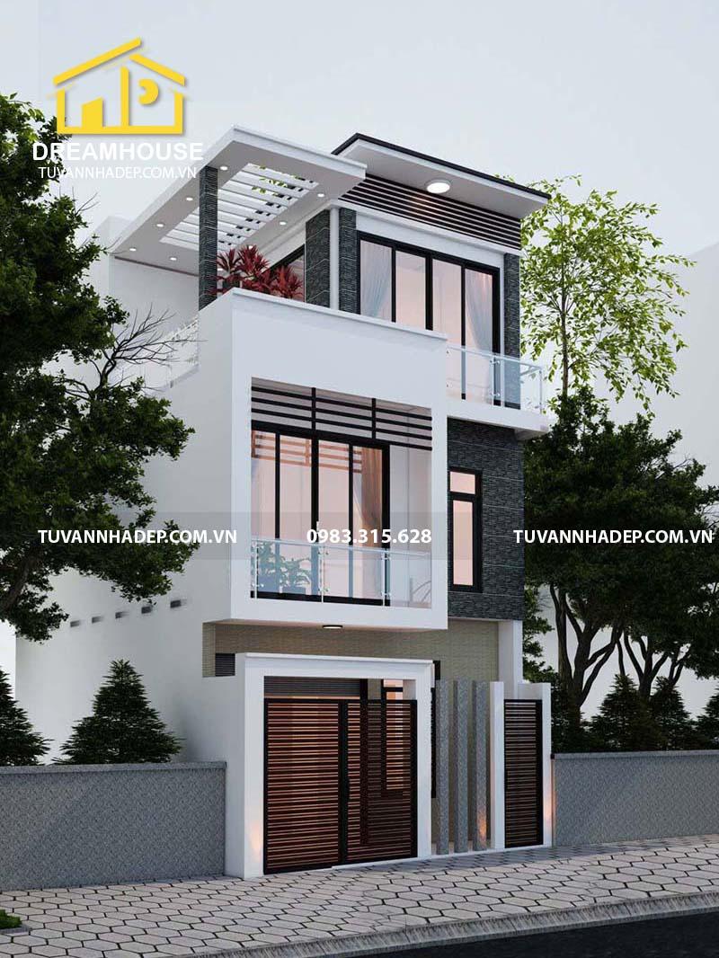 mẫu nhà phố 3 tầng mặt tiền 6m