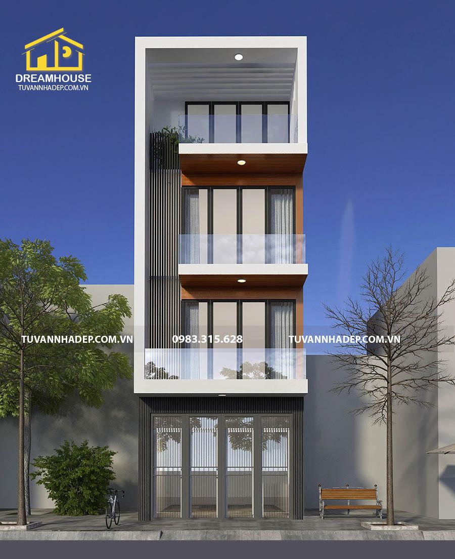 hình ảnh mặt tiền nhà phố 4 tầng 50m2