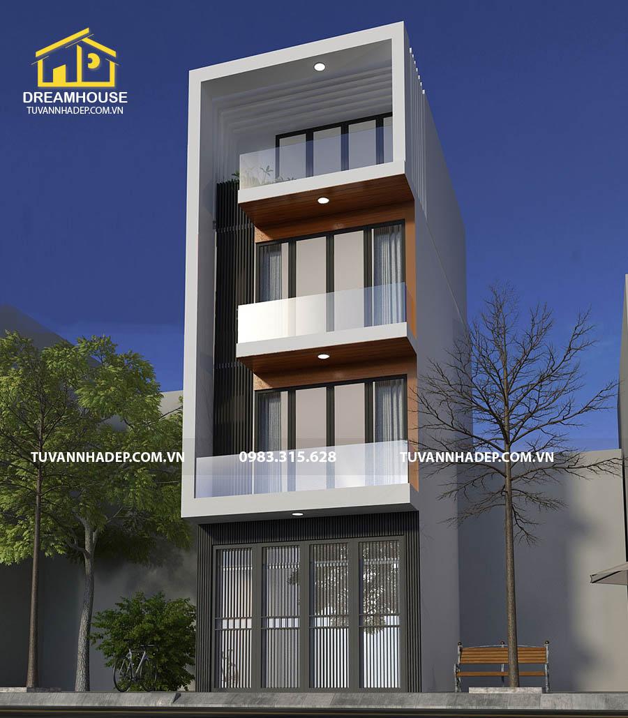 thiết kế góc nghiêng nhà phố 4 tầng 50m2 hiện đại