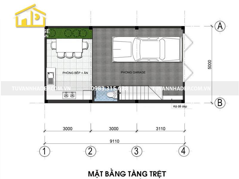 bản vẽ mặt bằng tầng 1 nhà phố 4 tầng 50m2