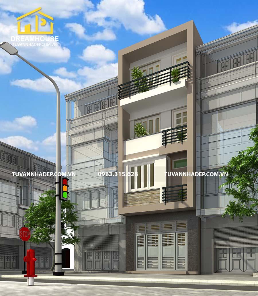 góc nhìn nghiêng nhà phố 4 tầng mặt tiền 5m đẹp