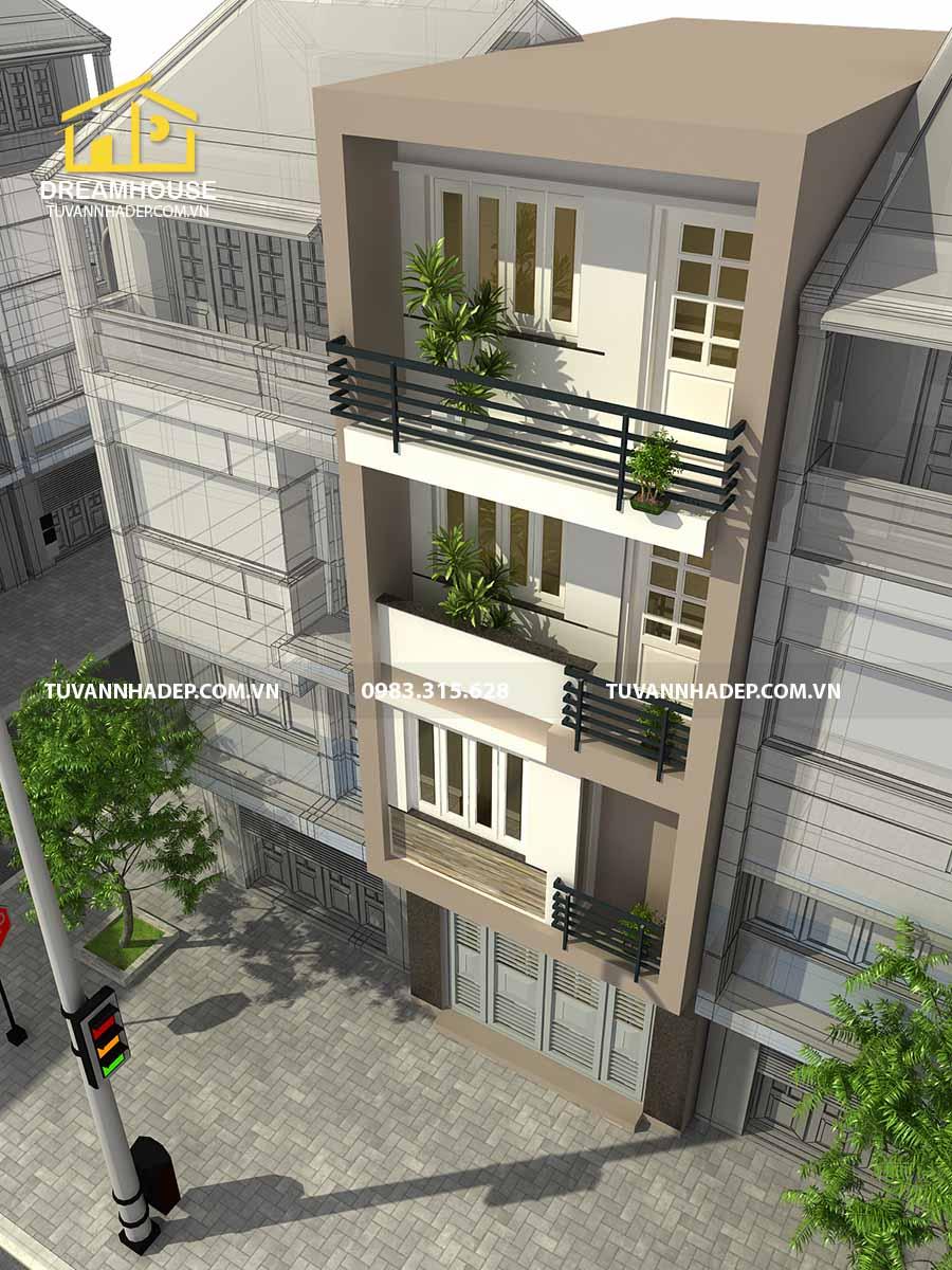 bản vẽ thiết kế nhà phố 4 tầng mặt tiền 5m đẹp