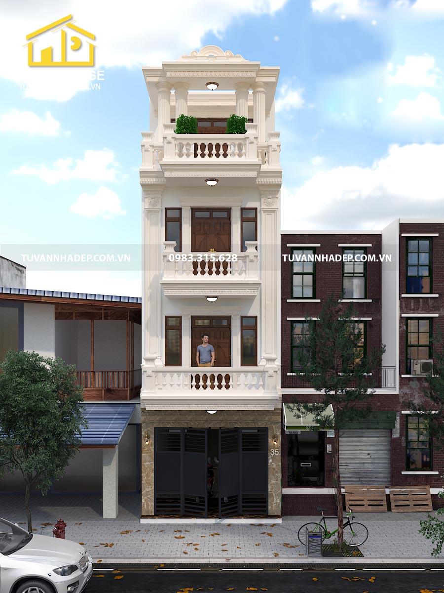 phối cảnh mặt tiền nhà phố tân cổ điển 4 tầng mặt tiền 5m