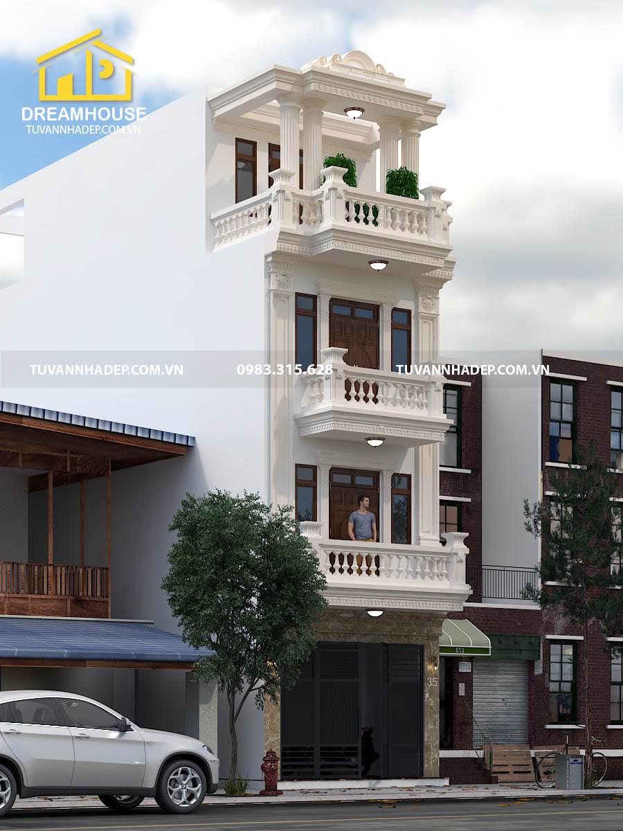 hình ảnh góc nghiêng nhà phố tân cổ điển 4 tầng mặt tiền 5m