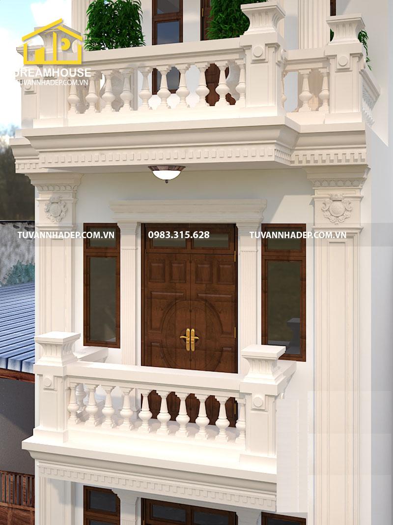 chi tiết phào chỉ nhà phố tân cổ điển 4 tầng mặt tiền 5m