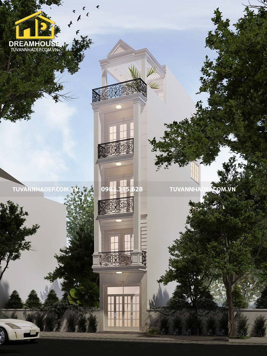 phối cảnh góc nghiêng nhà phố 5 tầng mặt tiền 3m