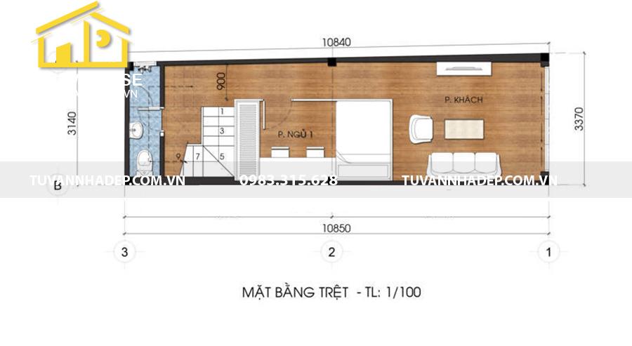 bố trí mặt bằng tầng trệt nhà phố 5 tầng mặt tiền 3m