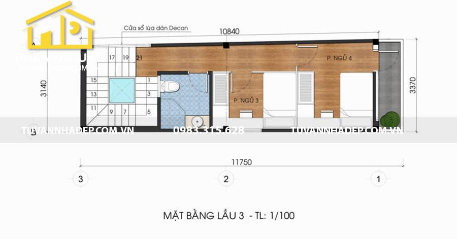 hình ảnh mặt bằng lầu 3 nhà phố 5 tầng mặt tiền 3m