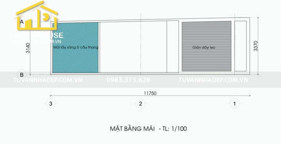 bố trí mặt bằng mái nhà phố 5 tầng mặt tiền 3m