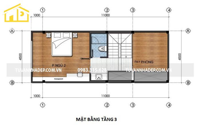 bản vẽ mặt bằng tầng 3 nhà phố 4 tầng mặt tiền 4.5m