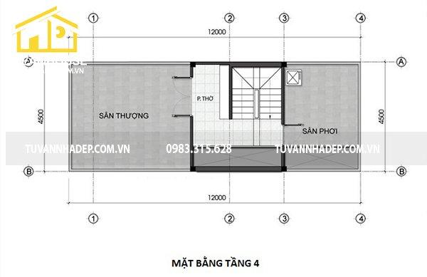 bố trí công năng tầng 4 nhà phố 4 tầng mặt tiền 4.5m