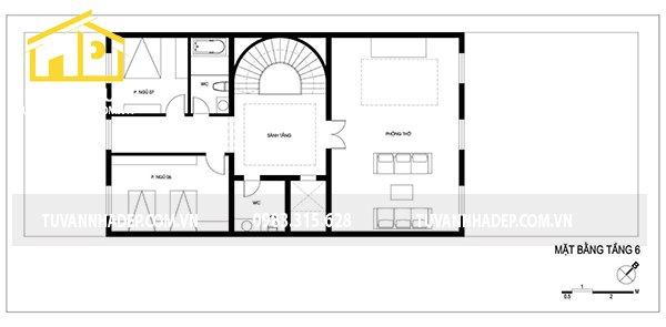 bố trí mặt bằng tầng 7 nhà phố 7 tầng mặt tiền 7m
