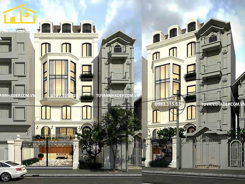 Thiết kế nhà phố 6 tầng mặt tiền 7m tân cổ điển ở Hải Phòng