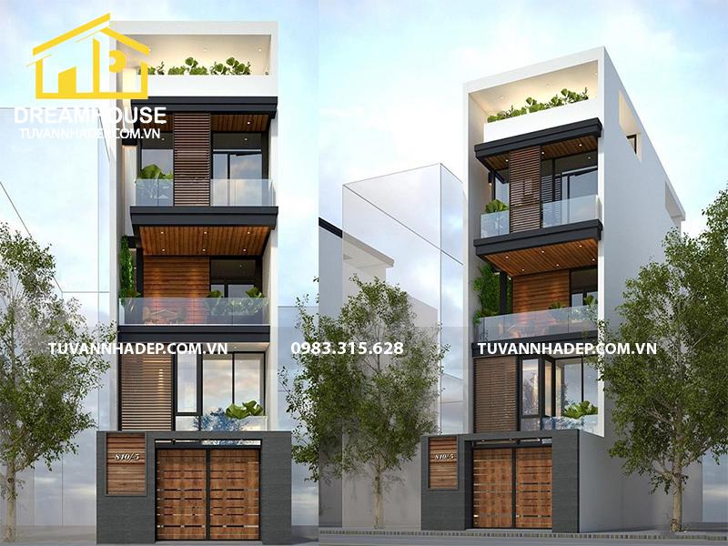 Mẫu thiết kế nhà phố 4 tầng mặt tiền 4.5m tại Bắc Ninh