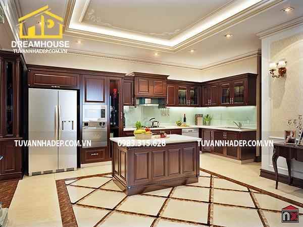 hình ảnh nội thất không gian phòng bếp nhà phố 7 tầng mặt tiền 7m