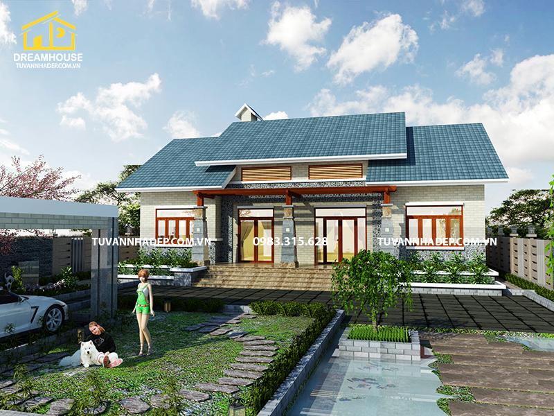 Thiết kế biệt thự vườn 1 tầng 4 phòng ngủ 160m2 mái thái hiện đại