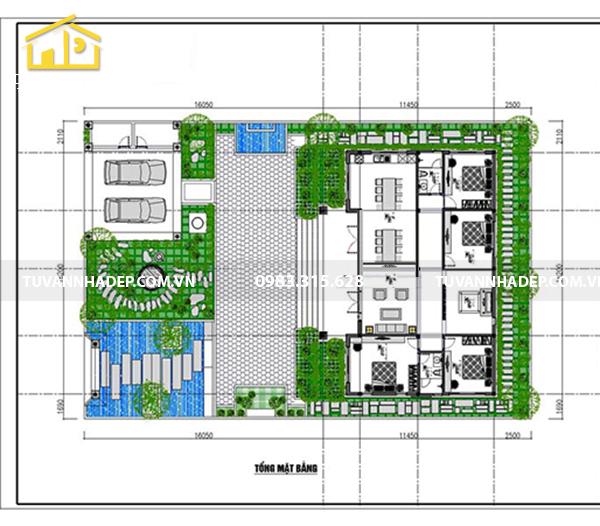 hình ảnh mặt bằng biệt thự vườn 1 tầng 4 phòng ngủ 160m2