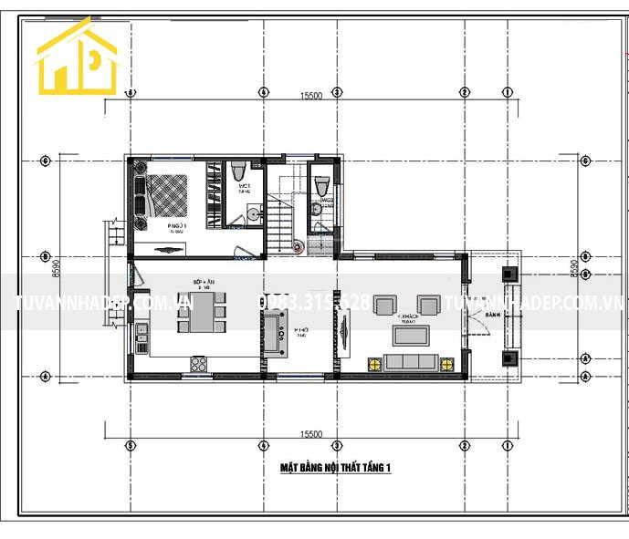 hình ảnh bố trí mặt bằng tầng 1 nhà 2 tầng chữ l mặt tiền 8m