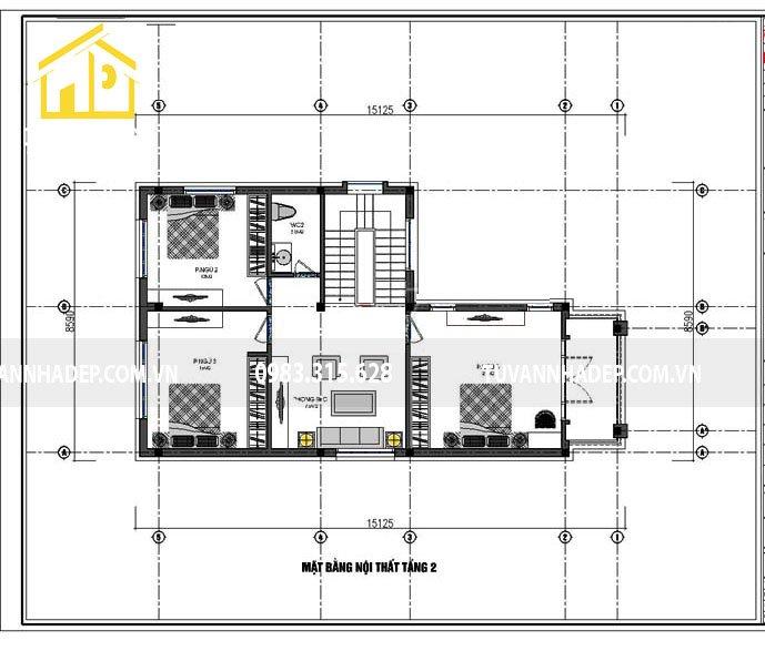 bản vẽ mặt bằng tầng 2 nhà 2 tầng chữ l mặt tiền 8m